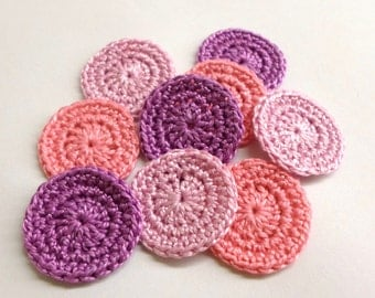 Handmade crocheted 1 inch circle appliques in pink and purple - Choose Your colors and amount