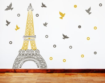 Paris Wall Decals - Eiffel Tower Fabric Wall Decals Mustard