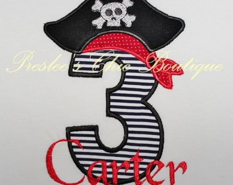 Pirate, Pirate Birthday T shirt or bodysuit, Boys Pirate Birthday Tshirt or onesie  Personalize with your child's name and age!