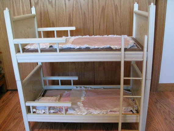 1960s Or 70s White Wooden Doll Bunk Beds With Ladder And