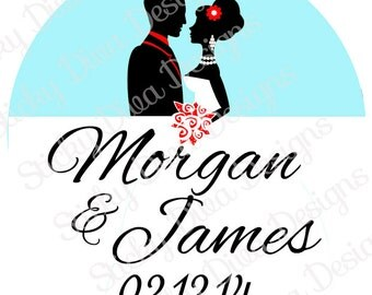 PERSONALIZED STICKERS - Custom Wedding Monogrammed Labels - Bride and Groom-  Round Gloss Labels
