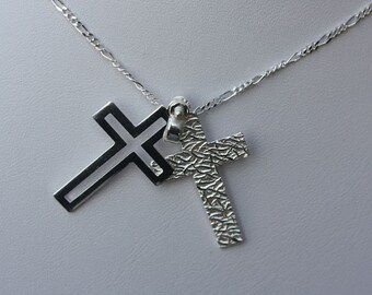 925 sterling silver double cross necklace, croos pendant, silver cross jewelry.