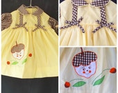 vintage 70s // cradle togs // autumn flair // embroidered acorn dress // girls size 12 mos