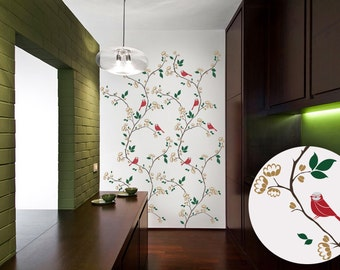 Free Shipping - Branch Wall Decal - Branch Wall Art - Birds on Branch Decal - Large Wall Decal - 074