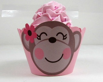 Monkey cupcake wrappers, girl monkey cupcake wrappers