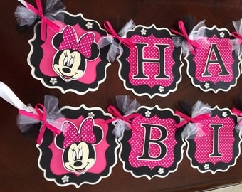 Minnie Mouse Party Decorations Hot Pink/Black, Minnie Mouse Banner, Personalized Minnie Mouse Banner, Pink/White Polka Dots