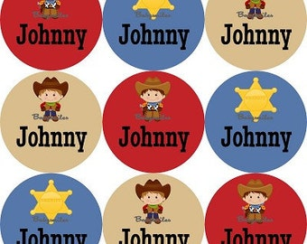 Personalized Waterproof Labels Waterproof Stickers Name Label Dishwasher Safe Daycare Label School Label Baby Label - Cool Cowboys