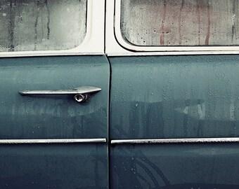 Morris Minor 1000 print James Bond 007 vintage car winter mist and rain, art print teal and gray classic car