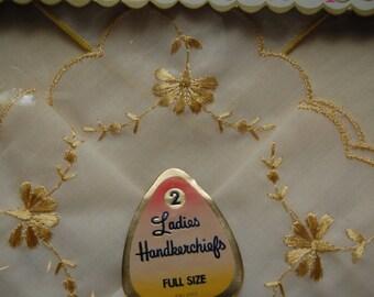 2 Vintage Ladies Handkerchiefs, cotton Handkerchief, Embroidered Hankie, New in Box