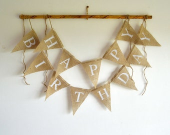 Happy Birthday Burlap Banner, HAPPY BIRTHDAY BUNTING - Natural Burlap - White Lettering