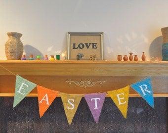 Happy Easter Burlap Banner -Easter Photography Prop Burlap Banner - Easter Decor