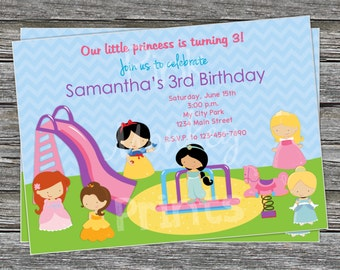 DIY - Princesses Park Birthday Party Invitation - Coordinating Items Available