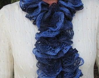 Knitted Ribbon Scarf Blue Winter Ruffle Scarves Woman Gift Idea Accessories Woman