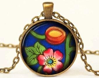 Asian Antique Print Art Pendant Floral Photo Pendant Altered Art Photo Pendant Necklace 1