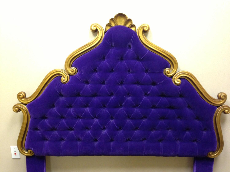 Vintage Tufted Velvet Upholstered Headboard Full Or Queen