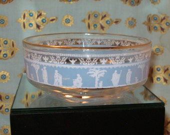 Vintage JEANNETTE GLASS Hellenic Grecian BOWL with Gold Trim