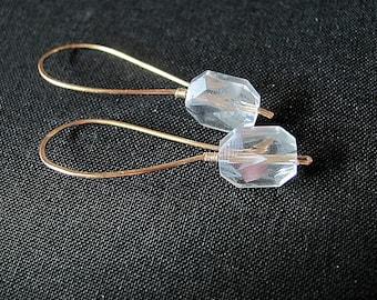 White glass earrings. Long earrings. Clear faceted glass earrings. Dangle earrings. Gold plated copper earrings. Hand made, shaped hammered.
