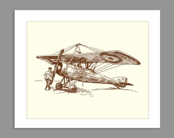 Digital Download Old Fashioned Biplane 1930s 1920s Airplane Art Print Boys Rooms Office