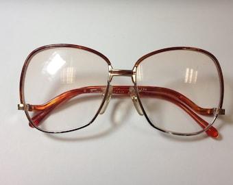 Vintage TURA ladies orange eyeglasses- 1970s- New Old Stock