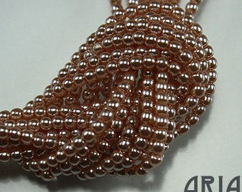 PEACH: 2mm Czech Glass Pearl Beads (150 beads per strand)