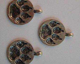 Paw Print Pendants silver tone, nickel free (3)