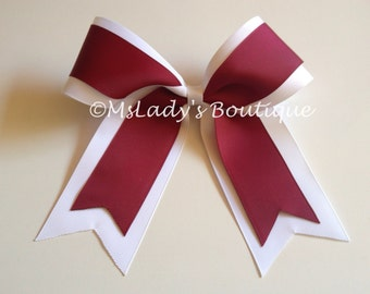 White Cardinal Red softball/Cheer Bow 6x5 - #162290384