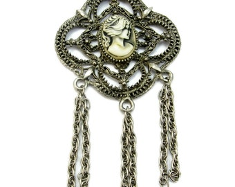 Large Cameo Pendant Necklace with Fringe Chains