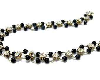 Black Bead Rhinestone Bracelet