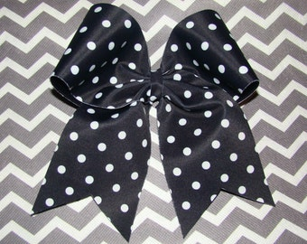 Black and White Polka Dot Cheer  Bow