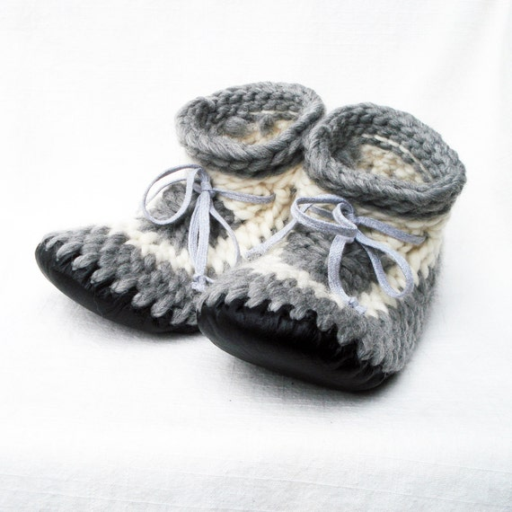 Funky Crocheted Slippers Leather Soles By Muffle Up