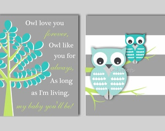 Baby Boy Nursery Art  Owl Nursery Print Kids Owl Wall Art Owl Love You Forever Baby Owl Nursery Decor CHOOSE COLORS 2 Owl Prints OW1507