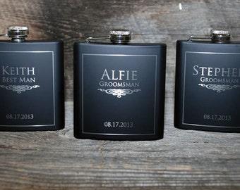 3 flasks Wedding party 3 engraved Flasks, Groomsmen flask, Best man flask, Custom engraved 6oz flask., flask, personalized flask,