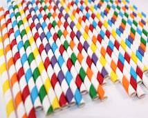 Rainbow Mix Striped Paper Straws (25 Count)