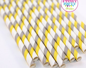 CLEARANCE! 50 Count Yellow & Grey Double Striped Paper Straws - Wedding, Birthday, Baby Shower, Bridal Shower, Cake Pops