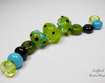 Handmade Lampwork Glass Beads, Handmade Lampwork Bead Set, Artisan Glass Beads