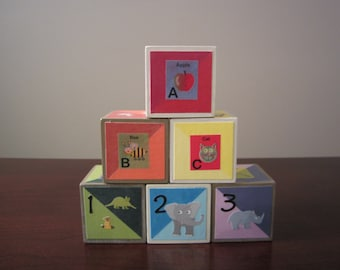 Children's Wooden Blocks- ABC's, Colors & Animals Blocks Set