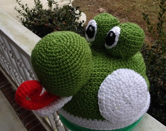 Yoshi Inspired Crocheted Unisex Hat with Posable Tongue