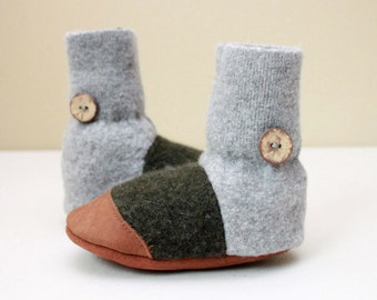 "Felted Wool Slipper Booties ""Tree Hugger""  Made to order 0 m - 3 yrs - Upcycled"