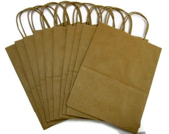 Ten large kraft shopping bags with handles large kraft for Handles for bags craft
