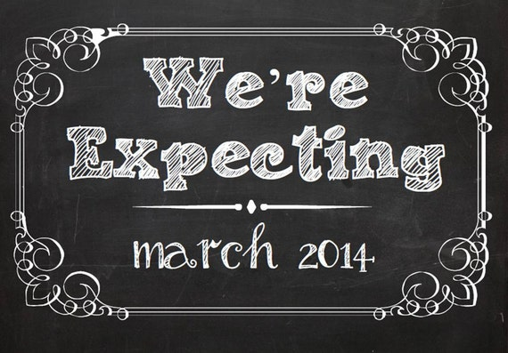 We Re Expecting Chalkboard Printable Baby Pregnancy