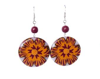 Polymer clay earrings Flower earrings Round earrings Orange earrings beaded earrings bordeaux earrings Dangle earrings Long earrings Spring