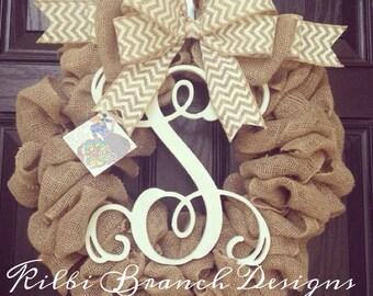 Burlap monogram wreath // vine monogram center letter // burlap and white chevron bow // Year round wreath