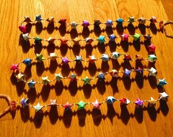 Upcycled Origami Star Garland, Handmade