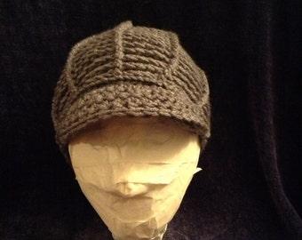 Crochet brimmed beanie (newsboy hat)
