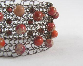 Hand Knit Wire Bracelet | Wire Cuff Bracelet | Beaded Wire Bracelet | Cherry Jasper Bead Bracelet | Wide Cuff Bracelet | Boho Cuff Bracelet