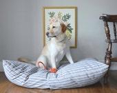 "Large Dog Bed Cover, Ticking Stripe Blue Dog Bed (33x45"")"