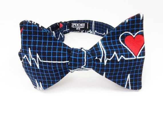 Lifeline Heart Monitor EKG Bow Tie Dark medical doctor