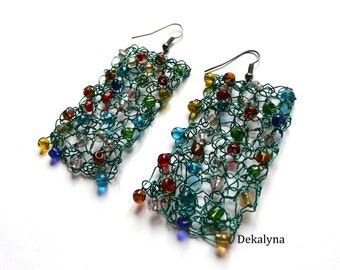 Wire crochet earrings // Spring summer earrings 2016 // French handmade jewellery // green jewelry // Jewelry made in France