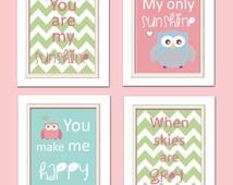 Nursery Quad, Pink and Green Nursery, You are my sunshine, Owl Nursery, Set of 4 8X10, Pink, Green, Blue
