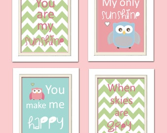 Nursery Quad, Pink and Green Nursery, You are my sunshine, Owl Nursery, Set of 4 8X10, Pink, Green, Blue